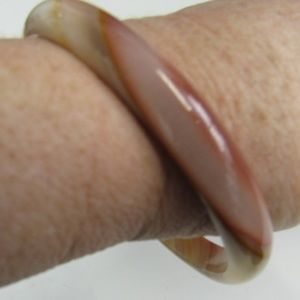 Vintage Pink and Beige Agate Stone Bangle
